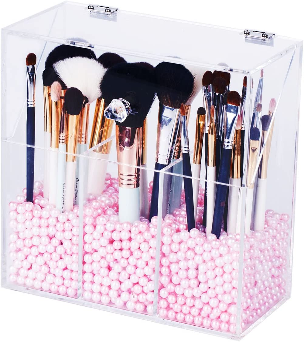 Newslly Clear Acrylic Makeup Organizer with 3 Brush Holder Compartment and Dustproof Lid, Cosmetic Brush Storage Box with Pink Pearls, for Bathroom Bedroom Vanity Countertop