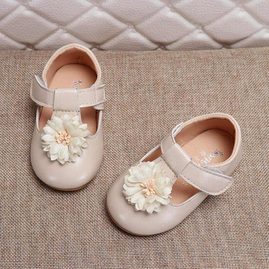 Voberry Infant Baby Girls Mary Jane Flats Non-Slip Soft Soled Toddler Crib Shoes