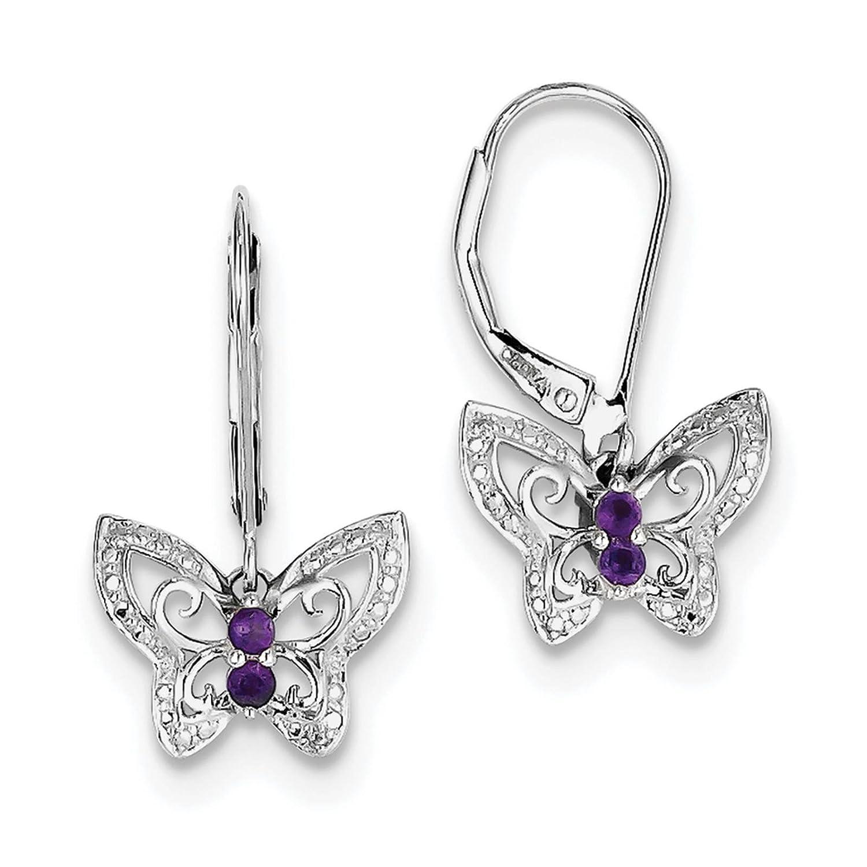 925 Sterling Silver Rhodium-plated Amethyst /& Diamond Butterfly Dangle Earrings
