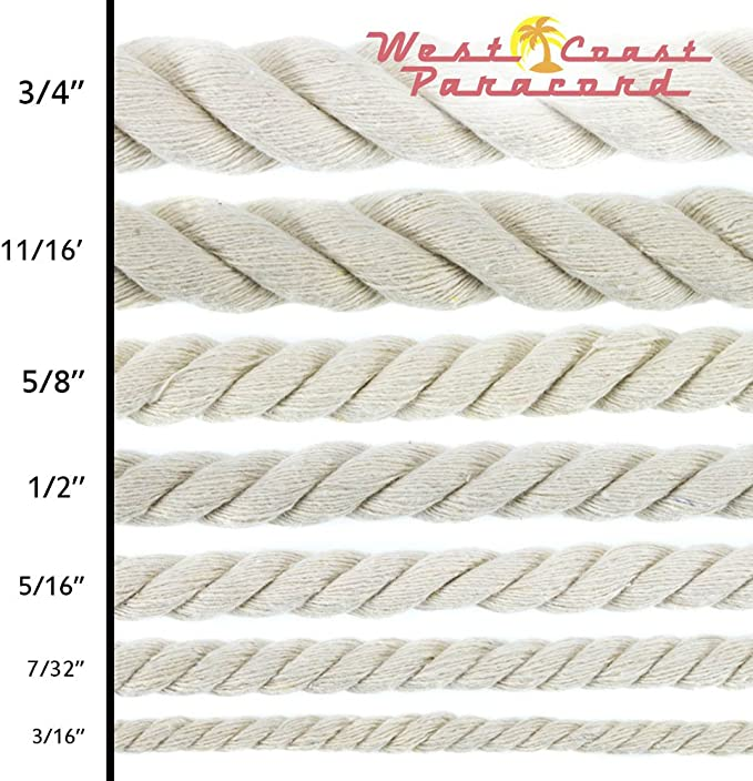 "Choose from 3//4/"" 100 Foot Lengths West Coast Paracord 5//16/"" 7//32/"" 3//16/"" Sizes 50 1//4/"" 3//8/"" 11//16/"" Original Natural Cotton Rope 25 1//2/"" Available in 10 5//8/"""