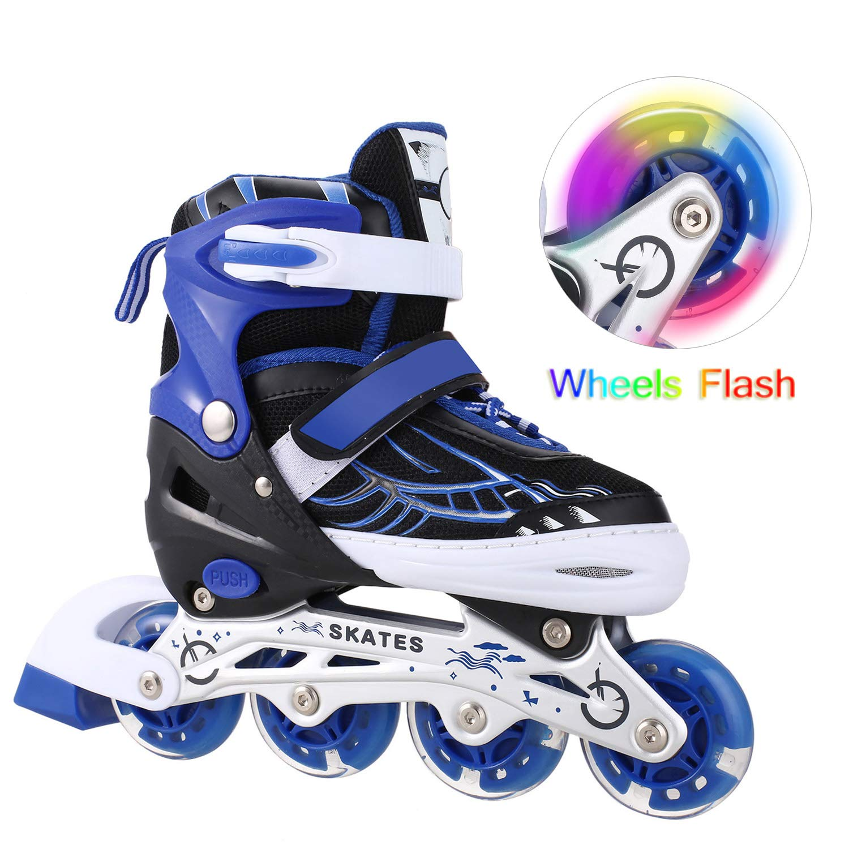WeSkate Inline Skates Rollerblades Roller Skates with Adjustable Size Light up Wheel Fun Flashing Skate for Toddler Boys Girls Kids