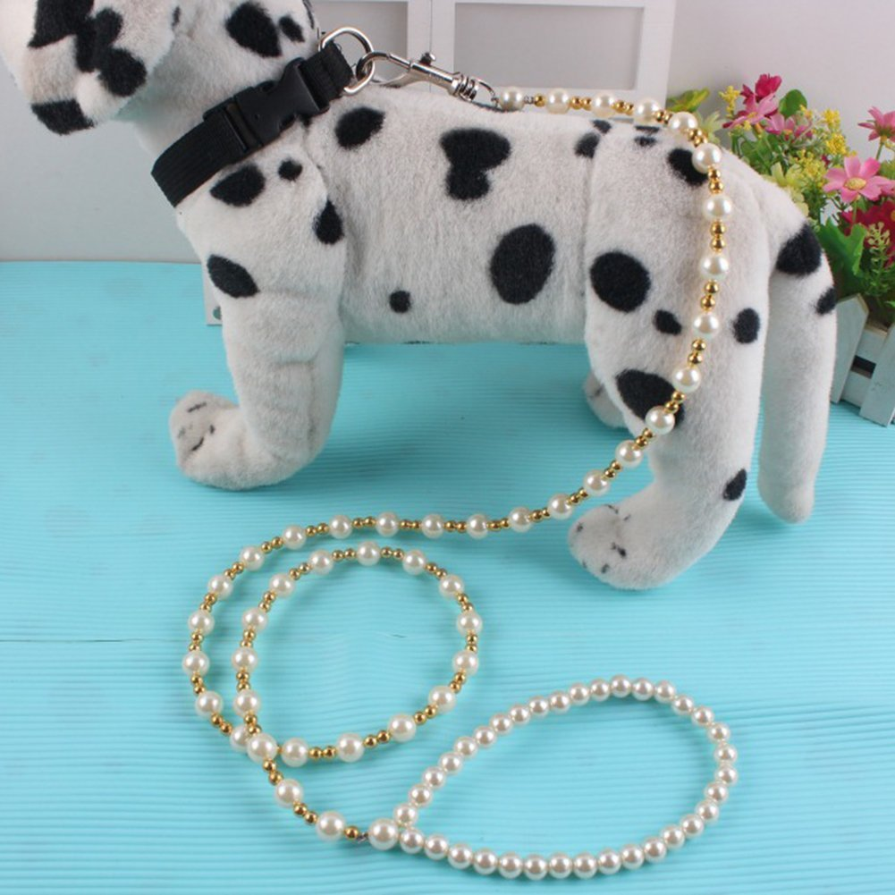 dds5391 Comfortable And Loving Pet Supplies Luxury Faux Pearl Dog Cat Walking Leash Strap Beaded Traction Rope Pet Accessory - White