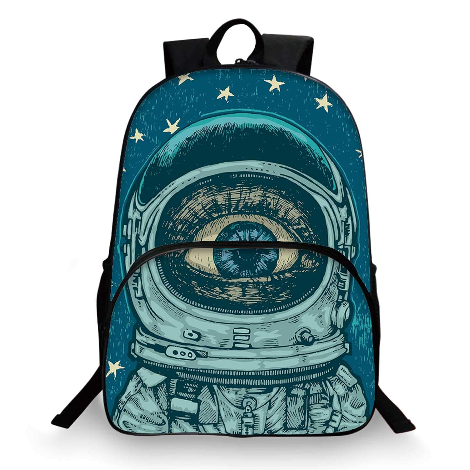 Astronaut Various Schoolbag,Amazed Astronaut Giant Surprised Eye Stars Amazing Wonders of the Universe Decorative for student,11''Lx6''Wx15''H by C COABALLA