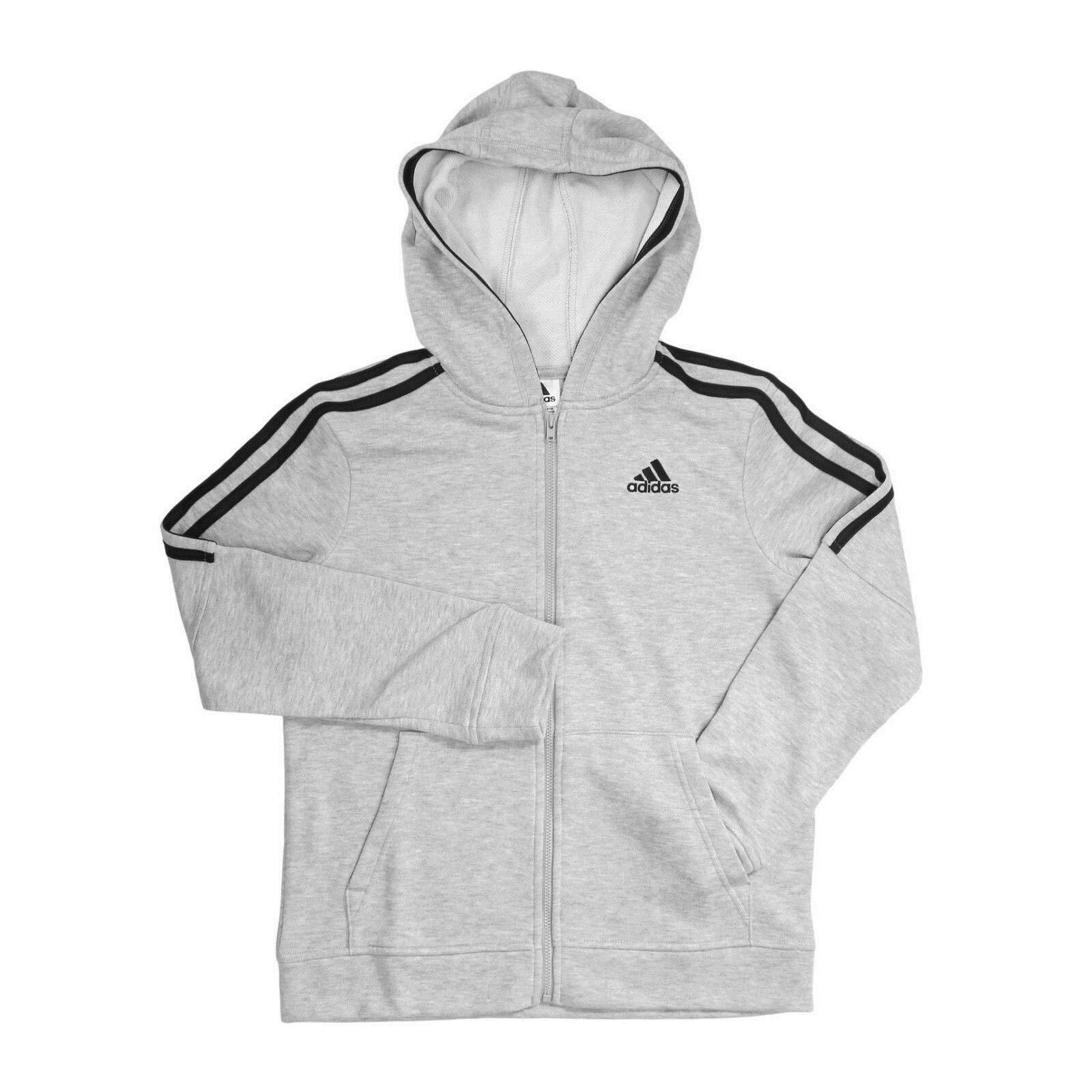 adidas Boys' Big Full Zip Athletic French Terry Hoodie Jacket, Grey Heather