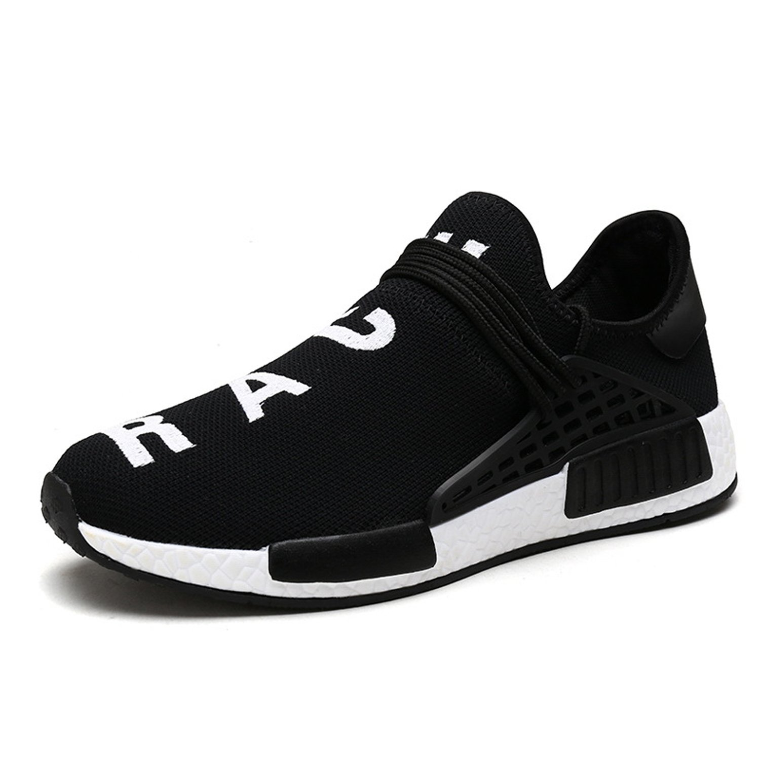 AI Aleng Mens Womens Unisex Lightweight Fashion Sneakers Breathable Lace-up Athletic Sports Shoes Human Race Casual Running Shoes B074RGFJQX Women 11 D(M) US /Men 10 D(M) US|Black