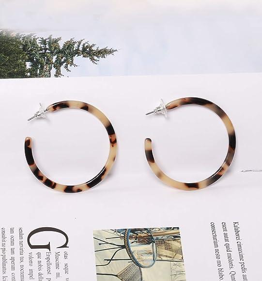 Acrylic Tortoise Shell Leopard Oversized Drop hoop Statement Earrings