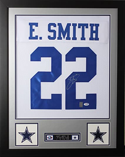 19dce48f16d Emmitt Smith Autographed White Cowboys Jersey - Beautifully Matted and  Framed - Hand Signed By Emmitt