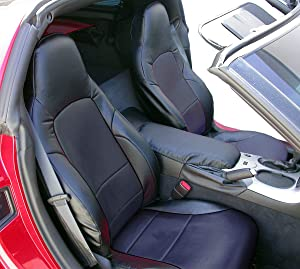 Iggee 2005-2013 Chevy Corvette C6 Artificial Leather Custom Made Original fit Front Seat Covers (Black)