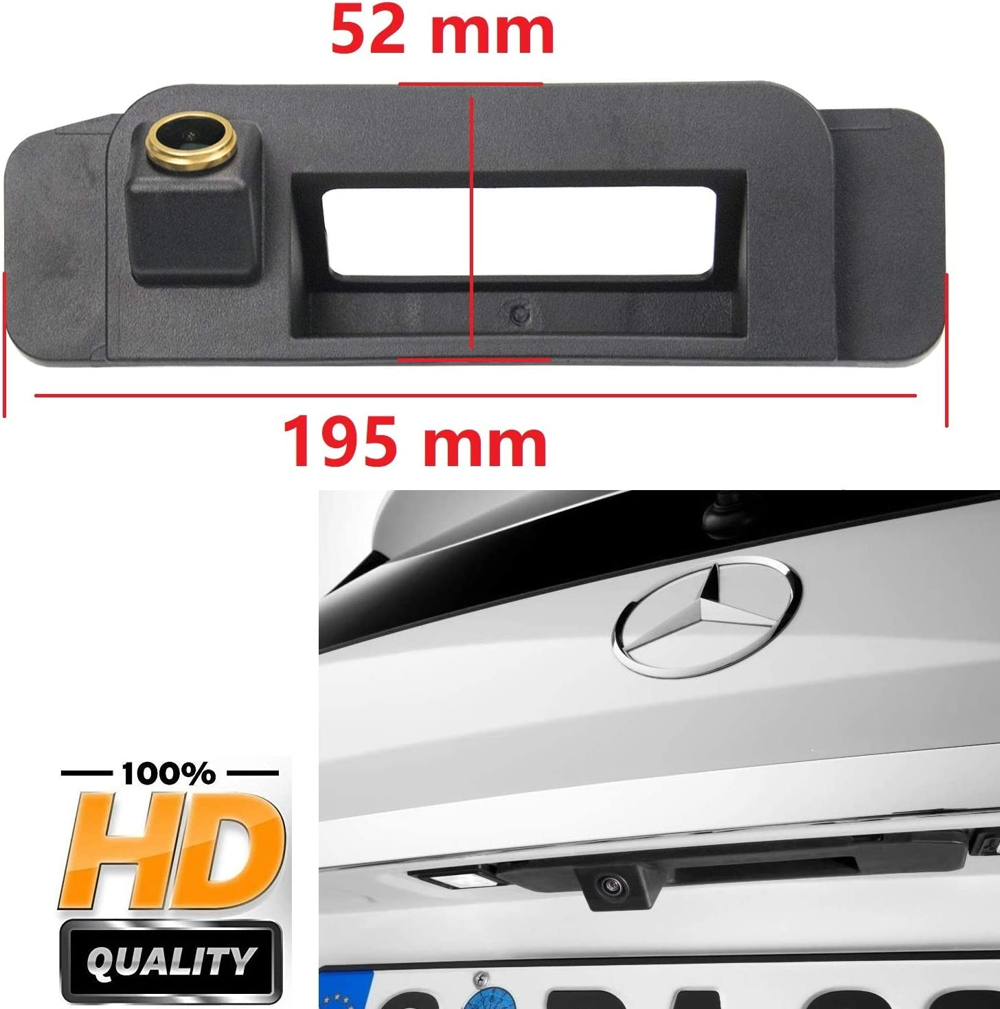 HD 1280x720p Rear Reversing Backup Camera Rearview License Plate Camera Night Vision Ip69 Waterproof for Mercedes Benz C Class W205 CLA C117 2015-2017 w//NTG5.0//5.1