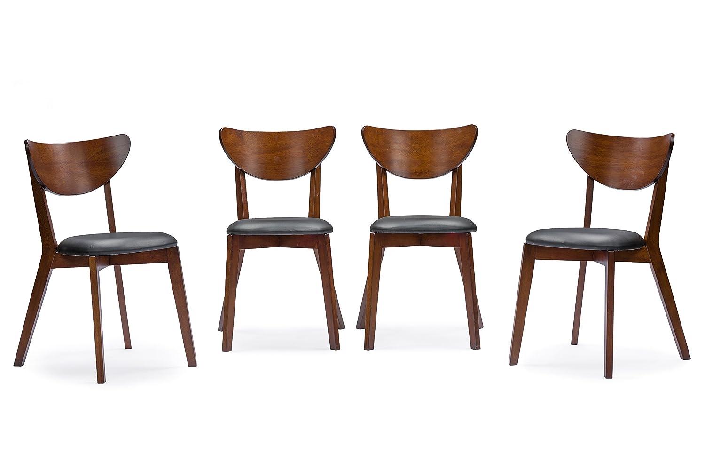 Amazon.com   Baxton Studio Sumner Mid Century Style 5 Piece Dining Set,  Walnut Brown   Table U0026 Chair Sets