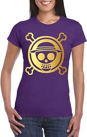 Purple Female Gildan Short Sleeve T-Shirt - One Piece skull logo - Gold design