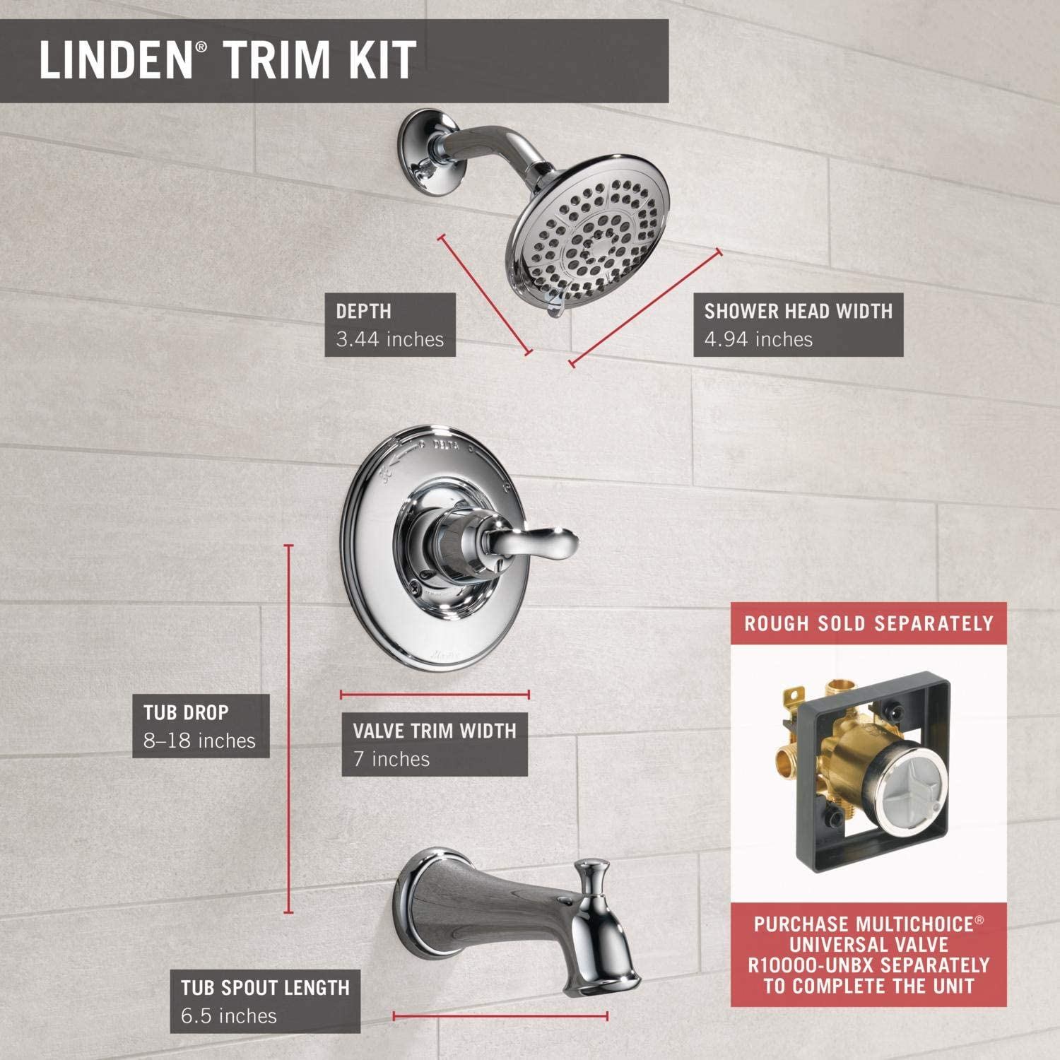 Delta Faucet Linden 14 Series Single-Function Shower Trim Kit with 5-Spray Touch-Clean Shower Head Valve Not Included Venetian Bronze T14294-RB