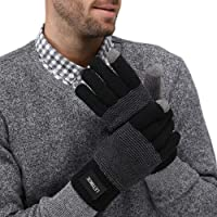 LETHMIK Unique MIX Knit Winter Gloves,Mens Touch Screen Warm Wool Lined Cold Weather Texting Gloves