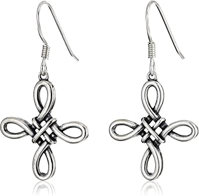 Celtic Interwoven 925 Solid Sterling Silver French Wire Hook Dangle Earrings