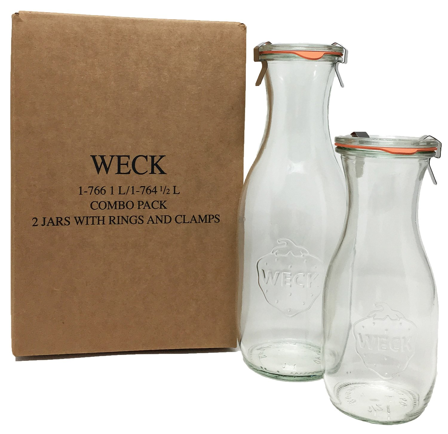 Weck Juice Jar Combo Pack - (1) 766 1-Liter jar (1) 764 1/2-Liter jar with Glass Lids, Rubber Rings and Steel Clamps