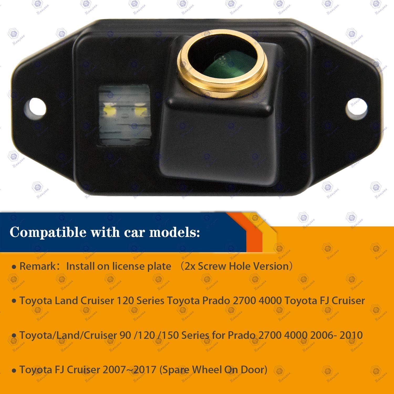 HD 1280x720p Golden Camera for Toyota Land Cruiser Prado 2700 4000 LC120 LC150 FJ Cruiser GSJ15W,3nd Generation Camera Rear View Reversing Backup Camera Night Vision Waterproof Backing Camera
