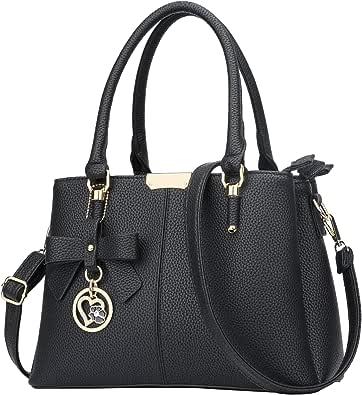 KKXIU 3 Zippered Compartments Purses and Handbags for Women Top Handle Satchel Shoulder Ladies Bags