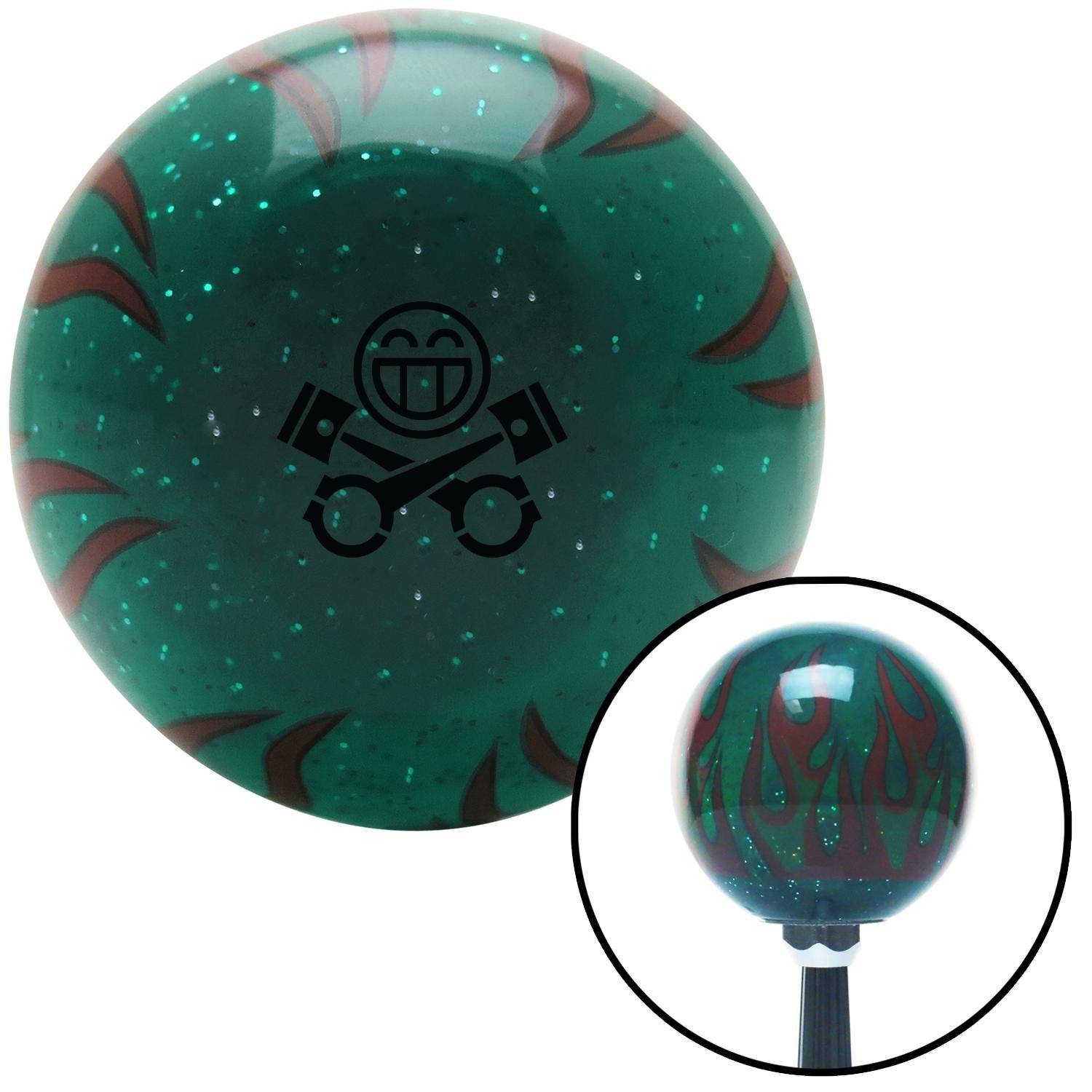 American Shifter 300574 Shift Knob Black Smiley Pistons Green Flame Metal Flake with M16 x 1.5 Insert
