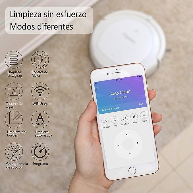 Clymen Q9 Aspirador Robot 3 En 1 con Control De Voz, Robot Aspiradora para Mascotas, Conexión WiFi Y Compatible con Alexa App, 2 Luces UV para Desinfección, ...