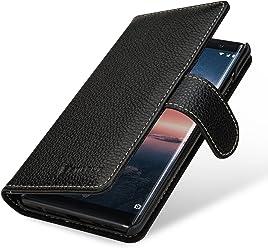 StilGut Talis Housse Nokia 8 Sirocco avec Porte-Cartes en Cuir véritable. Étui Portefeuille pour Nokia 8 Sirocco à Ouverture latérale et Languette magnétique, Noir