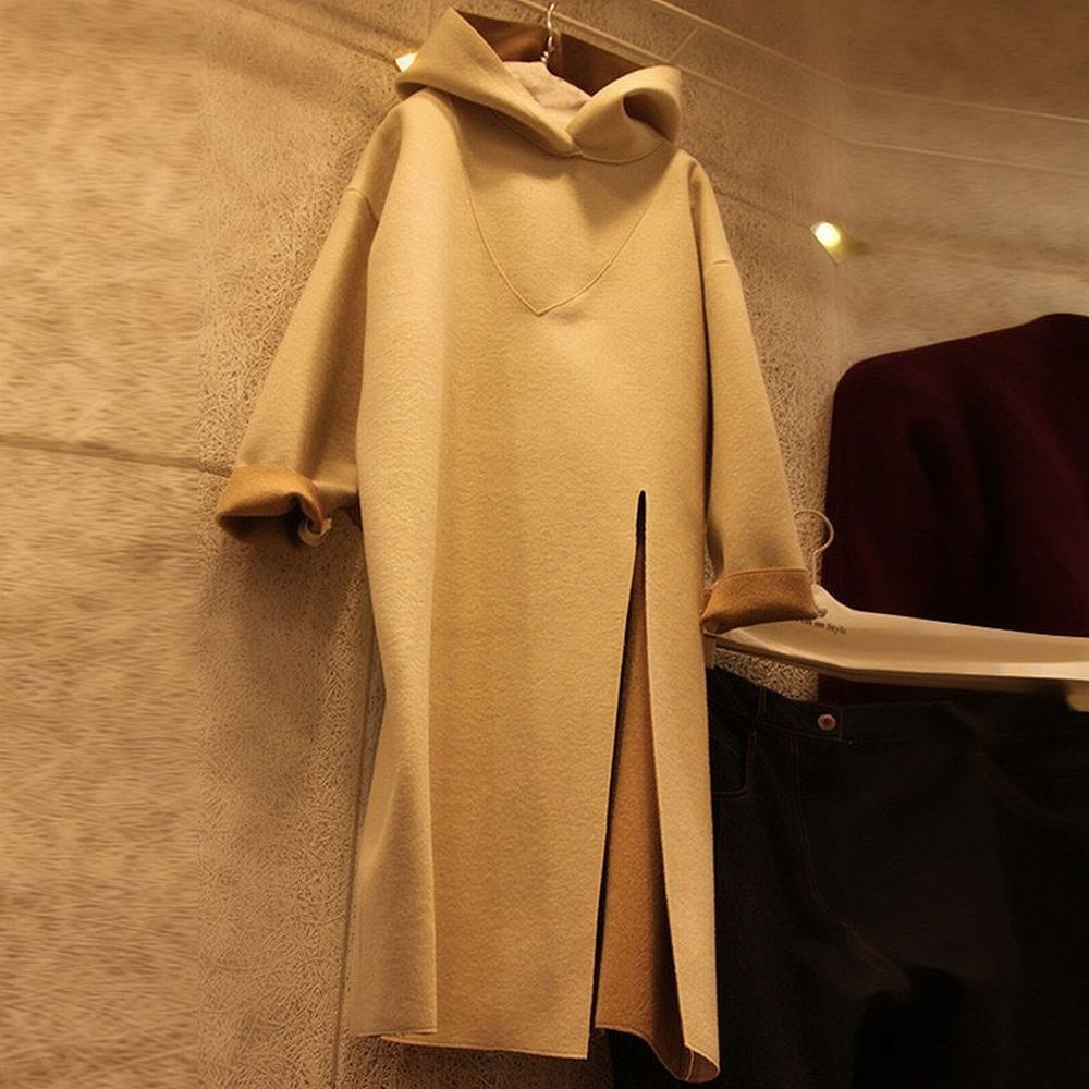 Y dress Herbst und Winter Modelle Lange Ärmel in in in Den Langen Abschnitt Der Wilden Seite Der Kapuzen Kleid Kleid Frauen Welle,Khaki,S B076M39HYT Bekleidung Eigenschaften 9f6051