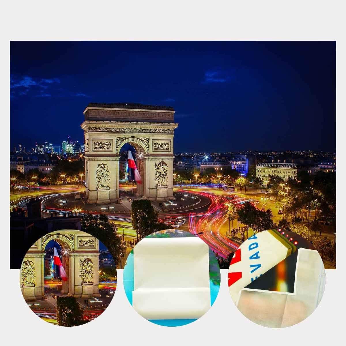 GoEoo 7X5ft Arc de Triomphe Backdrop Romantic Paris Arc de Triomphe Night Photography Backdrop Photo Art Studio Background Props LYGY196