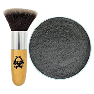 Travel Dry Shampoo Powder   Eco Friendly, All Natural Root Touch Up, Vegan Ingredients   Hair Powder Volumizer   For Black and Dark Brown Hair. (Ravn + Application Brush) Two Goats Apothecary