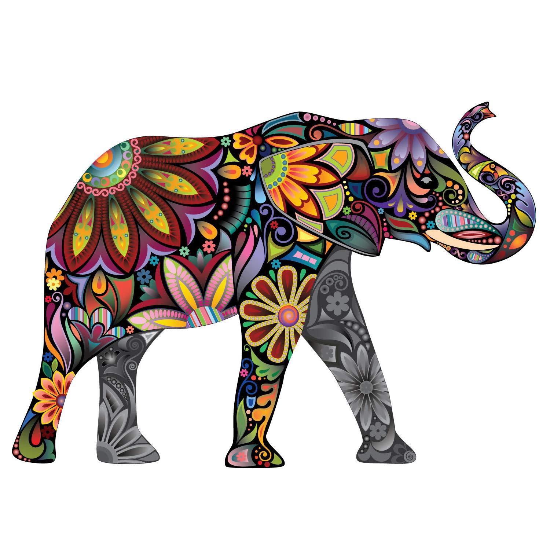 My Wonderful Walls Elegant Elephant Wall Sticker, Medium and Right Facing