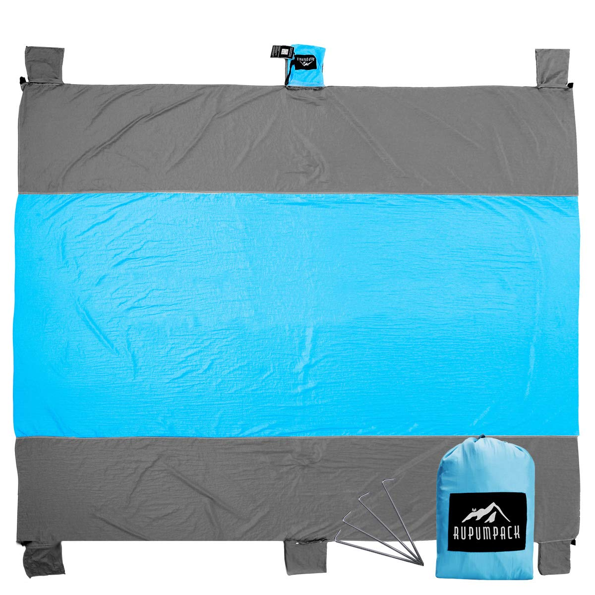 RUPUMPACK Sand Free Compact Huge Quick Drying Lightweight Beach Blanket(Oversized 9' X 10'), Durable Outdoor Soft Picnic Mat with Four Stakes and Sand Anchors, Made of 100% Parachute Nylon