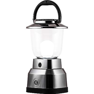 Enbrighten Brushed Nickel LED Camping Lantern, Battery Powered, 550 Lumens, 280 Hour Runtime, Carabiner Handle, Hiking Gear, Emergency Light, Blackout, Storm, Hurricane, 14210