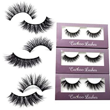 37c916a3049 Amazon.com : Cuckoo Lashes 100% Handmade 3D Faux Mink Lashes Individual  Korean Silk False Eyelashes 3 Pairs per Set Multipack Package for Daily  Makeup : ...