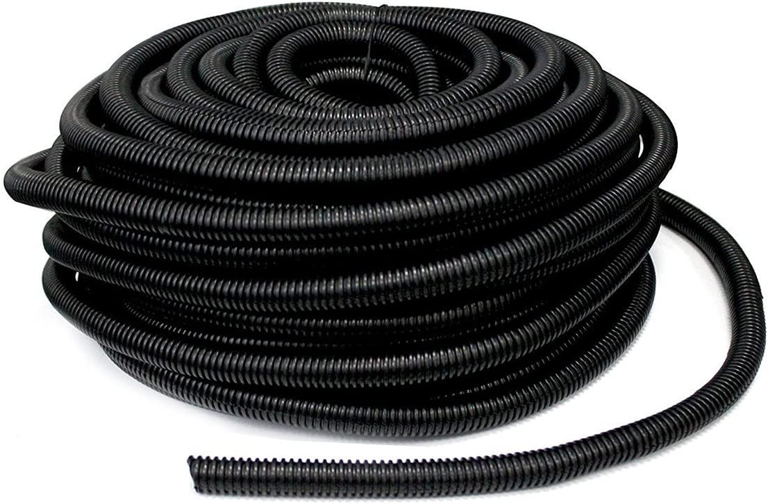 YXQ 100Feet 1/2 inch ID Corrugated Tubing Tube Non-split PE Bellows Pipe Black Preservative Electric Conduit Liquid Wire Loom Cable Cover Sleeve