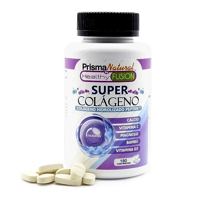 SUPER COLÁGENO - Colágeno Marino Hidrolizado Peptan + Bambú + Magnesio + Calcio + Vitaminas C y D3 para la salud y cuidado de articulaciones, ...