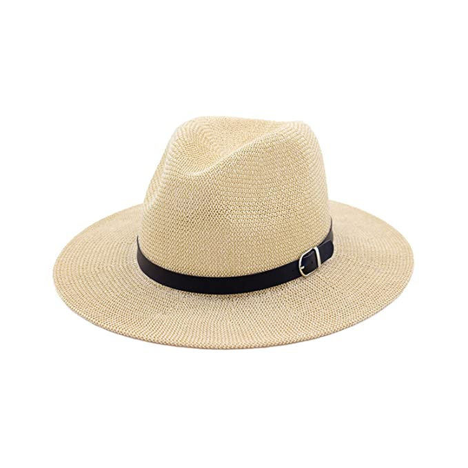 6bc3b835c38 Image Unavailable. Image not available for. Color  Beach Straw Hat Brown  Women Mens Wide Brim Elegant Panama Hat Fedora Female Casual Fashionable  Summer
