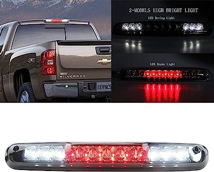 For 2007-2013 Chevy Silverado GMC Sierra 1500 2500HD 3500HD LED 3rd Third Brake Light Cargo Lamp Assembly 25890530 Chrome Housing Clear Lens