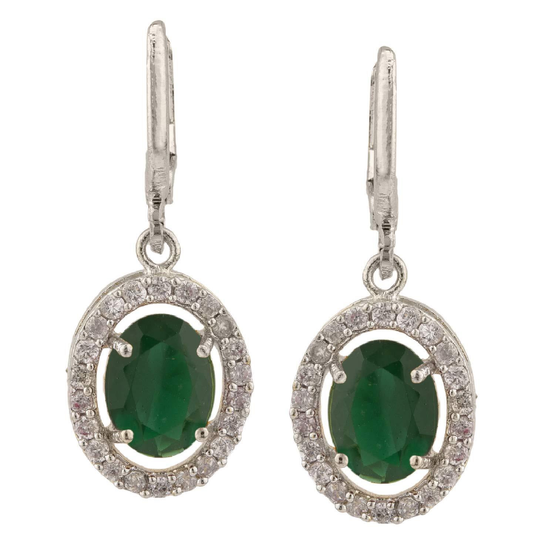 Efulgenz Rhodium Plated Hypoallergenic Halo Cubic Zirconia Drop Hoop Clip On Earrings Set of 5 Pierced Jewelry