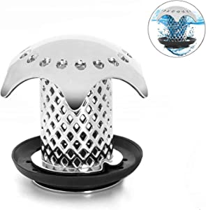 Hair Catcher Shower Drain,Drain Hair Catcher/Strainer/Snare, ABS Material Body Anti-Mold Fast Drain Protector with 4 Compatible Rubber Rings