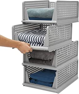 4 Pack Closet Basket Shelf Storage Bins Plastic Super Large Capacity Collapsible Kid Toy Rack for Kitchen Cabinets, Pantry, Offices, Bedrooms, Bathrooms(Gray)