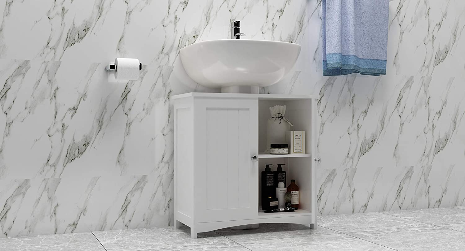 Woodluv Under Sink Bathroom Storage Cabinet - White