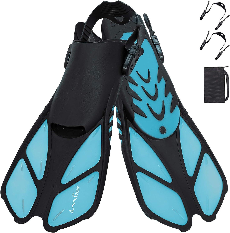 1 Pair Adjustable Flippers Swim Fins Short Blade Diving Fins Adults S//M L//XL