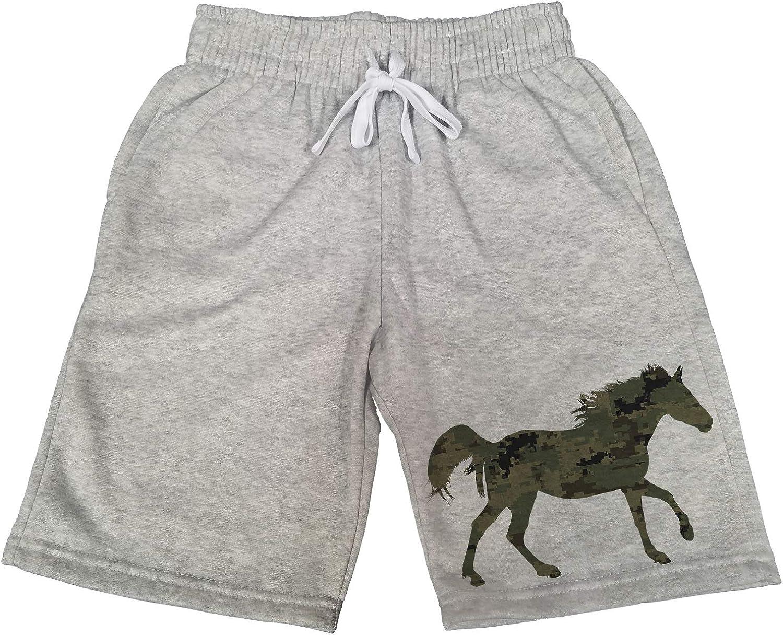 Mens Pixel Camo Horse B1414 Gray Fleece Jogger Sweatpants Gym Shorts