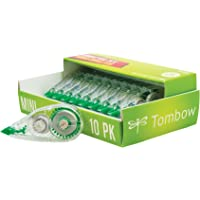 Tombow 68722 MONO Mini Correction Tape Easy to Use Applicator for Instant Corrections,Clear, 10-Pack