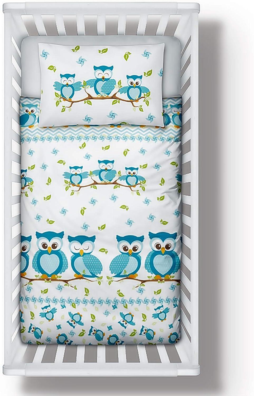 Parure de lit avec housse de couette et taie d/'oreiller pour lit de b/éb/é//enfant 100/% coton Motif hiboux Bleu
