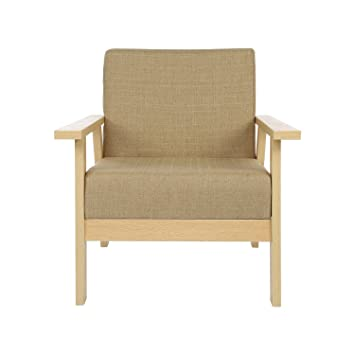 Home Like Upholstered Armchair Sofa Natural Finished Wooden Low Seat  Cotemporary Lounge Chair Simple