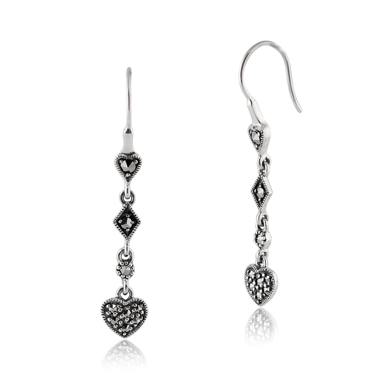 Marcasite Heart Earrings Sterling Silver Cut out Heart Studs