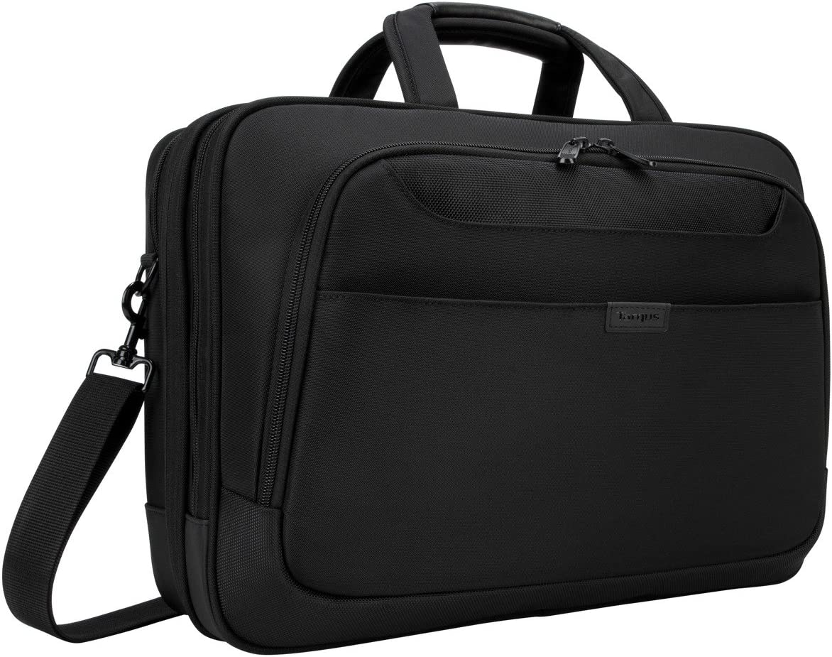 Targus Blacktop Professional Business Deluxe Briefcase, with Checkpoint-Friendly TSA Screening, Dual Main Compartments, Shoulder Strap Messenger Bag with DOME Protection for 17-Inch Laptop, Black (TBT275)