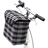 Fold-up Metal Canvas Bike Basket,Sanmersen Folding Portable Canvas Front Handlebar Bicycle Basket with Detachable Hook Removable bag