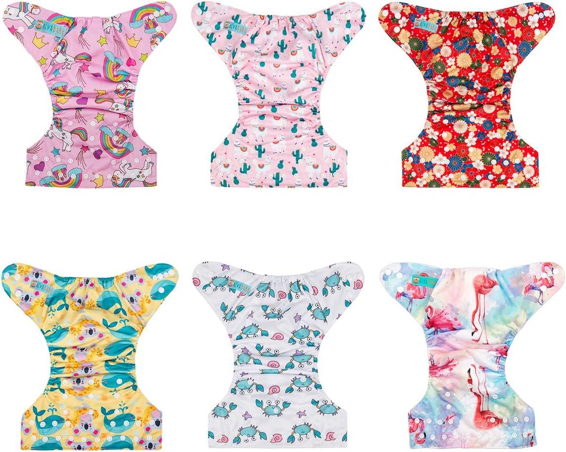 Alva Baby Lot de 6 couches r/éutilisables lavables avec 12 inserts