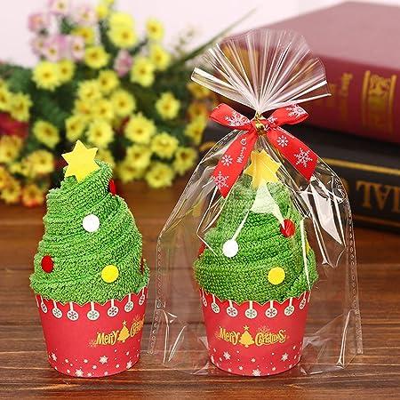 BESTOYARD Creativo Regalo Toalla de Árbol de Navidad y Papá Noel Diseño de Pastel para Decoración de Navidad 2Pcs: Amazon.es: Hogar