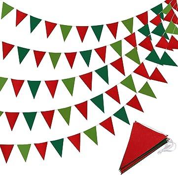 5 Piezas Pancarta de Día de San Patricio Banderines de Triángulo Irlandeses Guirnalda de Banderines para Fiesta Celebración Decoración Colgante, 41 Pies (Rojo y Verde): Amazon.es: Juguetes y juegos